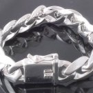 925 SILVER PLATED SMOOTH LINK BIKER LADIES MEN'S BRACELET 8.5""