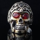 925 SILVER SKULL TRIBAL TATTOO FACE RED GEM ZIRCONIA EYES RING US SZ 7 TO 15