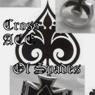 925 Silver Maltese Cross Good Luck Ace of Spades Chopper King Ring US sz 12.5