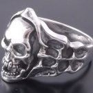 925 Silver Skull Bone Live To Ride Rockstar  Ring US sz 9.5