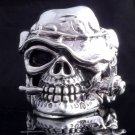 925 STERLING SILVER SKULL ROSE HAT LIVE TO RIDE CHOPPER RING US sz 9