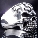 925 STERLING SILVER SKULL AND FLAME OUTLAW BIKER RING US sz 11