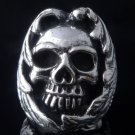 925 STERLING SILVER ENCRUSTED SKULL CHOPPER RING US sz 10