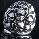 925 STERLING SILVER MULTI SKULLS YARD CHOPPER RING US sz 10.5