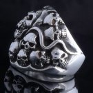 925 STERLING SILVER SKULLS YARD ROCKSTAR KING RING US sz 8