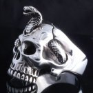 925 STERLING SILVER CUSTOM SKULL JAW COBRA SNAKE  RING US sz 9