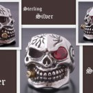 925 Silver 3D Skull Cigar Biker Pirate Live To Ride Music Player us sz 7 to 15