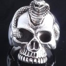 925 STERLING SILVER SKULL JAW COBRA SNAKE ROCKSTAR RING US sz 7.5 NEW