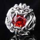 925 SILVER TRIBAL MASK DEMON LION CHOPPER RING US sz 8.5 NEW