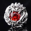 925 SILVER TRIBAL MASK DEMON LION ROCKSTAR KING RING US sz 8