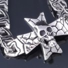STAINLESS STEEL SKULL IRON CROSS SNAKE SURFACE DESIGN BIKER BRACELET 8.5""