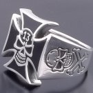 925 STERLING SILVER LUCKY 13 SKULL RESIN CROSS BIKER LIVE TO RIDE RING US sz 11