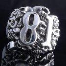 925 STERLING SILVER SKULL NUMBER 81 CHOPPER KING RING US sz 7.5