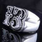 925 STERLING SILVER LUCKY 13 BIKER ROCKSTAR CHOPPER RING US sz 9