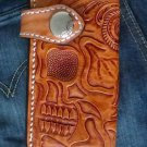 BIFOLD CARVED SKULL HEAD JAW CALF LEATHER CHOPPER WALLET