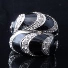 925 Silver Black Enamel Zirconia Gemstone Ladies Ring US sz 7.5