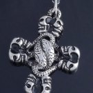 STAINLESS STEEL GOTHIC CROSS SKULL SNAKE GUITAR PLAYER BIKER PENDANT