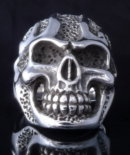 925 STERLING SILVER SKULL FLAME LOWRIDER BIKER RING US sz 13
