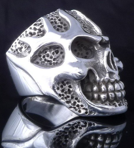 925 STERLING SILVER SKULL FLAME MOTORCYCLE BIKER RING US sz 10