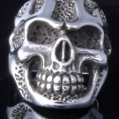 925 STERLING SILVER SKULL FLAME DESIGN CHOPPER RING US sz 9.5 NEW