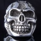 925 STERLING SILVER SKULL FLAME MOTORCYCLE CHOPPER RING US sz 7.5