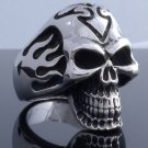 STAINLESS STEEL SKULL SYMBOL FLAME RING US SZ 8