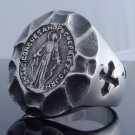 HUGE STAINLESS STEEL HOLY SAINT CROSS BIKER RING US SZ 10