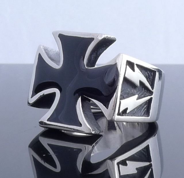 HUGE STAINLESS STEEL MALTESE CROSS LIGHTNING CHOPPER RING US SZ 12