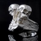 SILVER PLATED BIKER SKULL PISTON CHOPPER KING RING US sz 11
