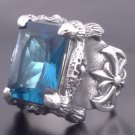 925 STERLING SILVER BATTLE AXE GEM OUTLAW MOTORCYCLE RIDER BIKER RING 7 to 15