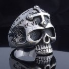 STAINLESS STEEL SKULL JAW GOTHIC CROSS LOWRIDER RING US SZ 11