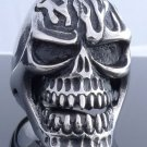 HEAVY BIG STAINLESS STEEL SKULL GOTHIC CROSS FLAME BIKER ROCKSTAR RING US SZ 8