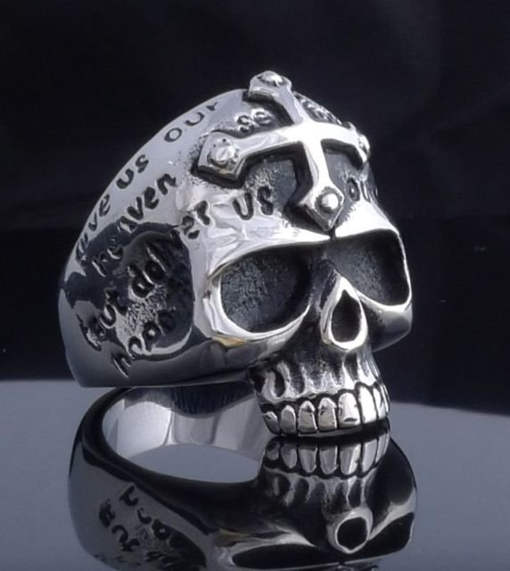 STAINLESS STEEL SKULL JAW GOTHIC CROSS CHOPPER RING US SZ 8