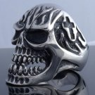 STAINLESS STEEL SKULL GOTHIC CROSS FLAME CHOPPER RING US SZ 9