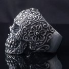 STAINLESS STEEL AMAZING TRIBAL FLOWER SKULL CHOPPER ROCK STAR RING US SZ 8