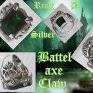 CUSTOM 925 SILVER BATTLE AXE CLAW GREEN ZIRCONIA RING sz 9