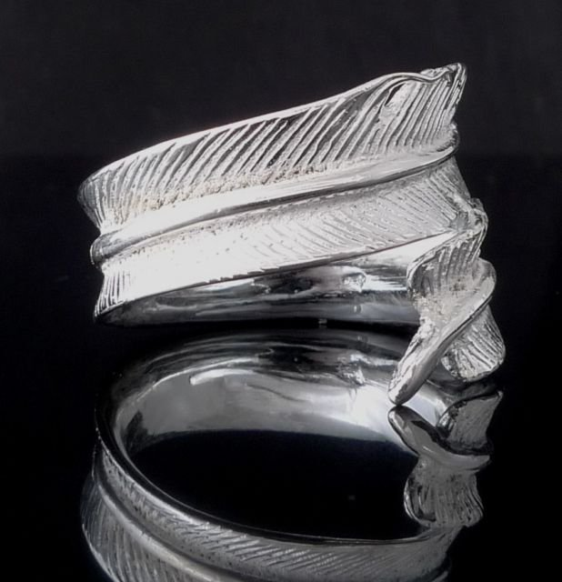 Custom Unisex Plated Silver Feather Ring US sz 11.5
