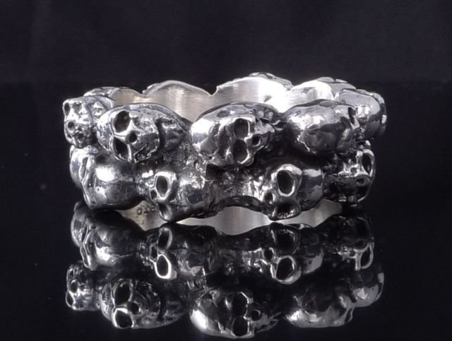 CUSTOM 925 STERLING SILVER SKULL MOTORCYCLE RING US sz 12.5 NEW !