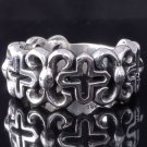 925 SILVER FLORAL GOTHIC CROSS RING US sz 7.5