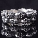 925 SILVER SILVER MULTI SKULL BIKER RING US sz 8