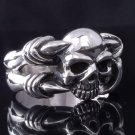 925 SILVER SKULL CUSTOM CLAW HEART BIKER RING US sz 10