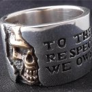925 STERLING SILVER HALF SKULL ROCKER RING US sz 14