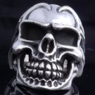 CUSTOM CHOPPER 925 SILVER HUGE SKULL RING US sz 8.5