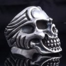 925 STERLING SILVER HUGE SKULL BIKER RING US sz 8