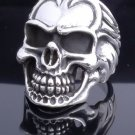 AMAZING 925 STERLING SILVER SKULL HEAVY BIKER RING US sz 11.5