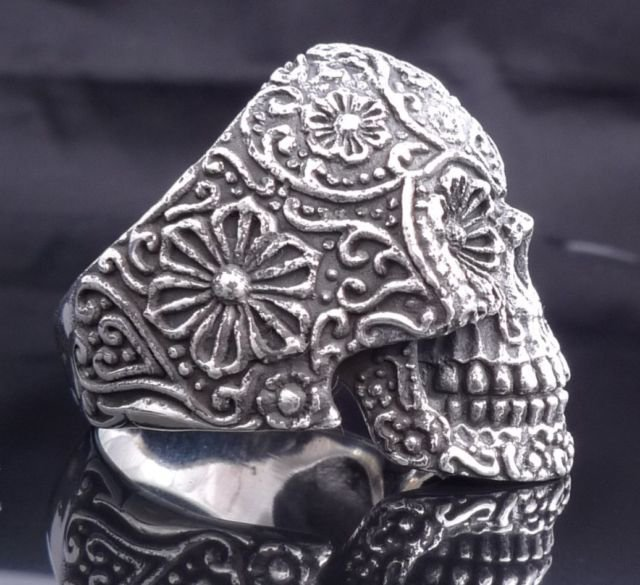 AMAZING STERLING 925 SILVER TRIBAL FLOWER SKULL KING RING US sz 9