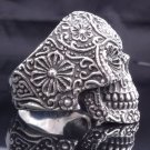 925 STERLING SILVER TRIBAL FLOWER SKULL CHOPPER RING US sz 8