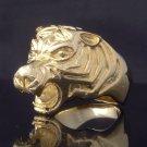 GOLD PLATED TIGER HEAD BIKER ROCKER CHOPPER RING US SZ 10