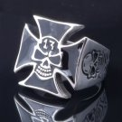 STAINLESS STEEL LUCKY 13 SKULL MALTESE CROSS CHOPPER ROCK STAR RING US SZ 8