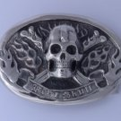 STAINLESS STEEL SKULL BONE CROSS FLAME BIKER CHOPER ROCKSTAR BELT BUCKLE